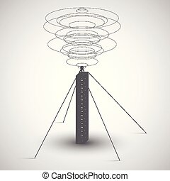 Radio tower on gray background, vector