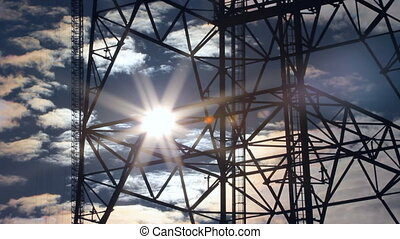 Radio tower silhouette. Time lapse. - Communication tower...