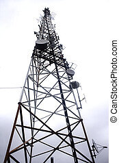 Radio tower - Single communication tower isolated against...