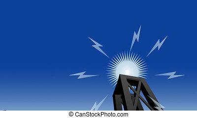 Radio Tower - Signals emerge from a cartoon radio tower.