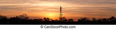 Radio Tower with sky background. - Radio tower at sunset in...