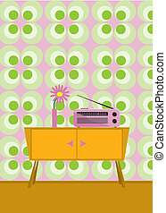 Radio und Blume auf einen Schrank im Siebziger Jahre Stil