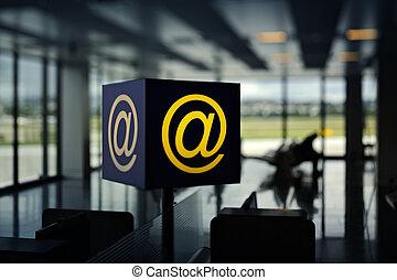 radio, varm, fläck, flygplats