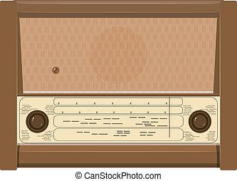 radio, vektor, altes , abbildung