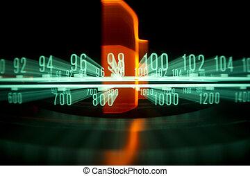 radio, wählscheibe, mit, lichter