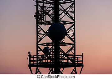 radio waves antenna at dusk