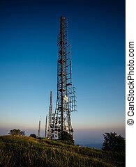 radio waves antenna in hight mountain