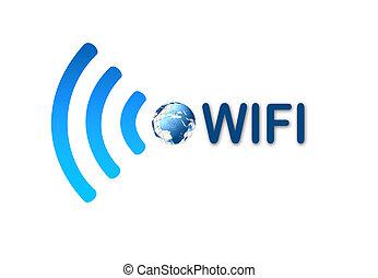 radio, wifi, azul, símbolo, icono, con, tierra