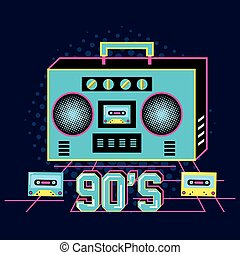 radio with cassette of nineties retro