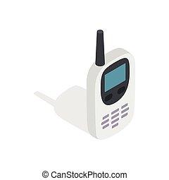 Radio with GPS navigator icon, isometric 3d style