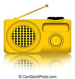 Radio - Yellow radio receiver over white background