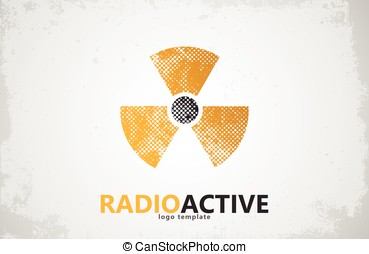radioactief, nucleair, symbool, straling, logo, logo., ...