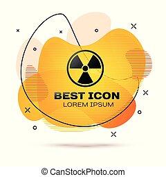 radioactif, banner., couleur, signe., radiation, fluide, danger, isolé, arrière-plan., vecteur, noir, illustration, toxique, blanc, symbole., icône