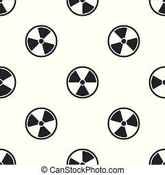 radioactif, isolé, modèle, signe., radiation, gris, danger, seamless, arrière-plan., vecteur, illustration, toxique, blanc, symbole., icône