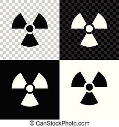 radioactif, signe., radiation, isolé, danger, symbole., arrière-plan., vecteur, illustration, toxique, noir, blanc, transparent, icône