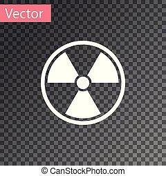 radioactif, signe., radiation, isolé, danger, symbole., arrière-plan., vecteur, illustration, toxique, blanc, transparent, icône