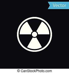 radioactif, signe., radiation, isolé, danger, symbole., arrière-plan., vecteur, noir, illustration, toxique, blanc, icône