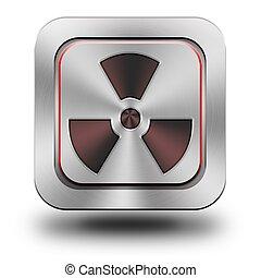Radioactive aluminum glossy icon
