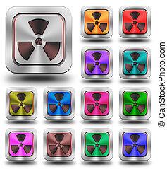 Radioactive aluminum glossy icons, crazy colors
