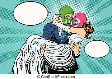 Radioactive Apocalypse wedding bride and groom pop art retro vector. A man carries a woman on his hands. couple love