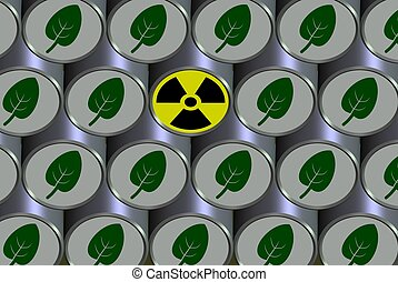 Radioactive barrel - A number of barrels filled with ...