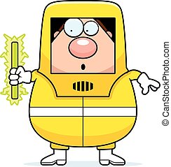 Radioactive Cartoon Hazmat - A cartoon illustration of a man...