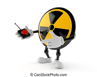 Radioactive character pushing button on white background