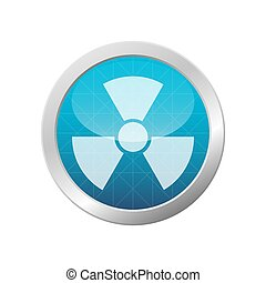 Radioactive Danger Sign. Toxic Nuclear Waste Warning Symbol On Light Blue Shiny Circle Vector Illustration