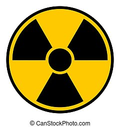 Radioactive hazard sign. Black and yellow isolated icon vector illustration.
