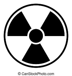 Radioactive hazard sign. Black isolated icon vector illustration.