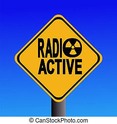 radioactive hazard sign on blue sky illustration