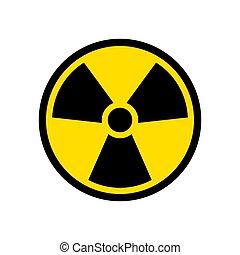Radioactive icon nuclear symbol. Uranium reactor radiation...