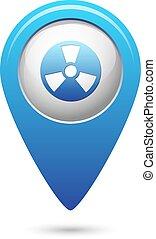 Radioactive icon on blue map pointer