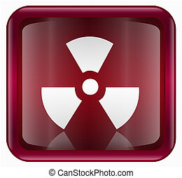Radioactive icon red, isolated on white background.