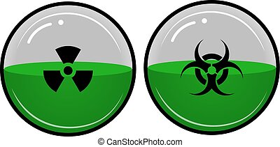 Dangerous, radioactive liquid in a container in the shape of a sphere