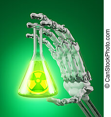 Radioactive materials - Laboratory flask with a radioactive...