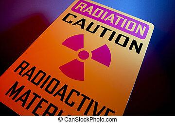 Radioactive materials sign - Orange radiation sign shot at...