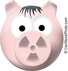 Radioactive pig - Pink pig with radiation symbol on nose