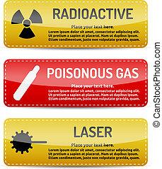 Radioactive, Poisonous Gas, Laser - Danger sign set