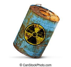 radioactive pollution concept. Dirty barrel isolated on white background