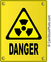 Radioactive sign on yellow metal board