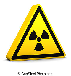 Radioactive Sign - Radioactive yellow sign on a white...