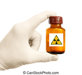 radioactive substance in hand on white background