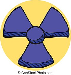 Radioactive symbol icon in color drawing. Science research energy nuclear waste