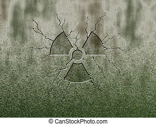 radioactive symbol on stone background