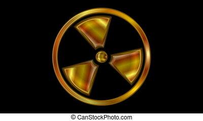 Radioactive symbol video animation. Seamless loop