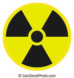 Radioactive warning sign - Render illustration of...