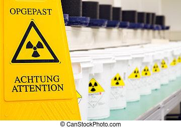 Radioactive warning sign - Warning sign for radioactive...