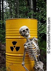 Radioactive waste and skeleton - Radioactive waste barrel...