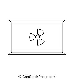 Radioactive waste container icon, outline style - Container...